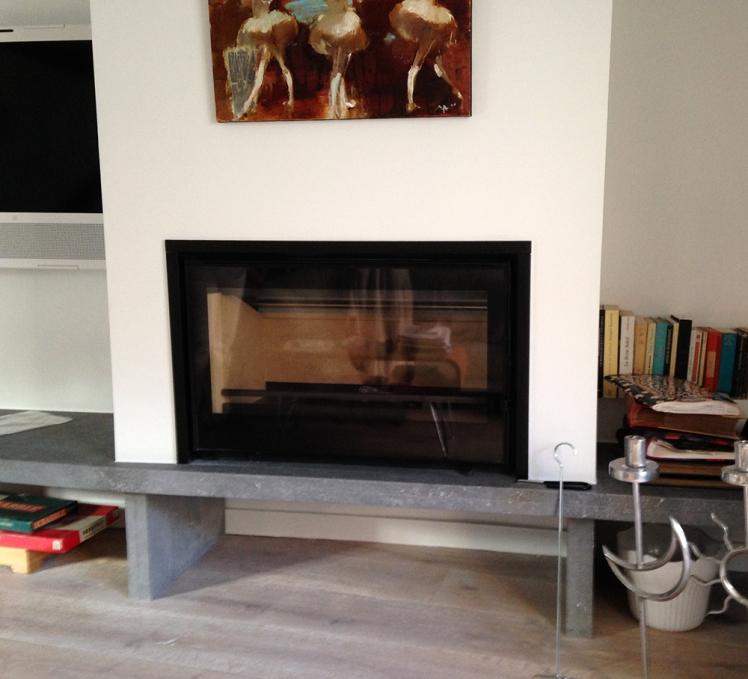 installation d un insert avec soubassement en dalle de. Black Bedroom Furniture Sets. Home Design Ideas
