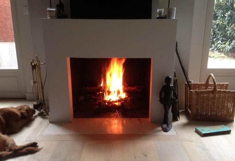 Une cheminée moderne avec une superbe flambée pour fêter l'hiver.