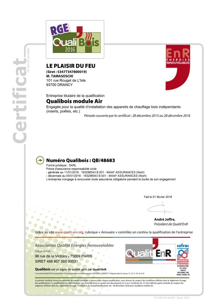 Certification Qualibois pour l'année 2016